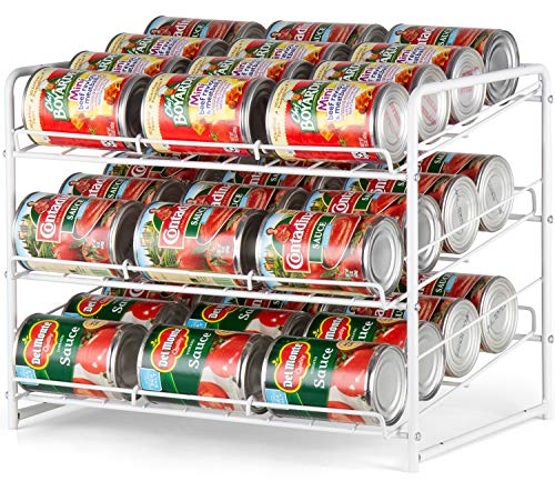 Auledio Stackable Can Rack Organizer For Kitchen Cabinet, Pantry Organization And Storage Dispenser, Holds 36 Soda Cans Or Canned Food, Metal White (White)