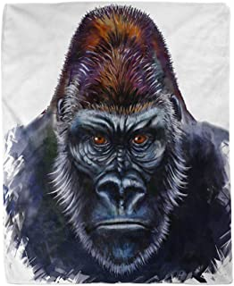 rouihot 60x80 Inches Flannel Throw Blanket Silver King Gorilla Digital Painting Male Kong Animal Face Home Decorative Warm...