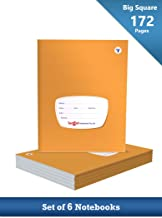TARGET PUBLICATIONS Big Square Notebooks for Kids | 172 Ruled Pages | Soft Bound Cover | Maths Practice Books for Children | 18 cm x 24 cm Approx | Set of 6 | GSM 58
