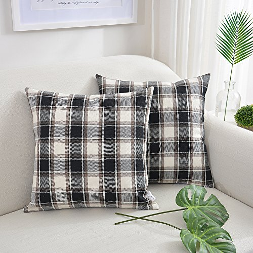 NATUS WEAVER 2 Packs Black White Checker Pillow Case Soft Linen Square Decorative Throw Cushion Cover Pillowcase with Invisible Zipper for Bench 22' x 22'
