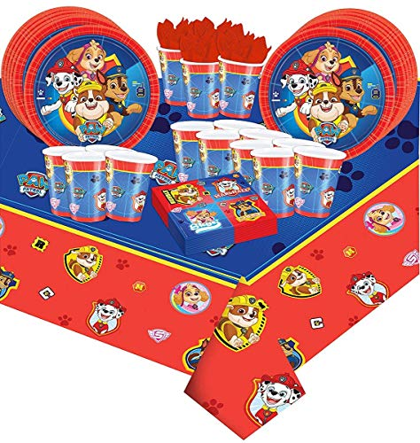Amscan 49-Teiliges Party-Set Paw Patrol Teller Becher Servietten Geburtstag
