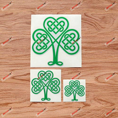 Shamrock Clover 3 Leaf Celtic Knot Ireland Irish Green Vinyl Decal Sticker - 3 Pack Reflective, 2 Inches, 3 Inches, 5 Inches - for Car Boat Laptop Cup Phone 06280