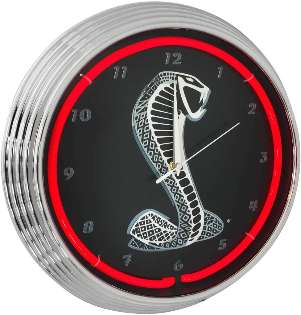Blue Dealing full price reduction Oval outlet Industries Mustang Cobra Neon Red Wall Clock 15-Inch