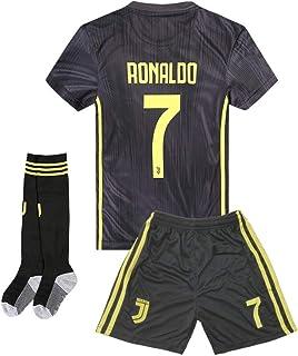Juventus #7 Ronaldo Away Kids and Youth Soccer Jersey & Shorts & Socks Color Black