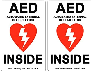 "2 Pack of 4"" Width x 6"" Height, Vinyl, Red and Black on White Weatherproof AED Label,""AED Automated External Defibrillator Inside"" by Defib Guy"