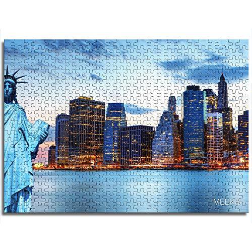 CCBRA 1000 piezas puzles de juguete para adultos y niños, la Estatua de la Libertad y Manhattan regalos únicos para parejas y amigos puzles de madera