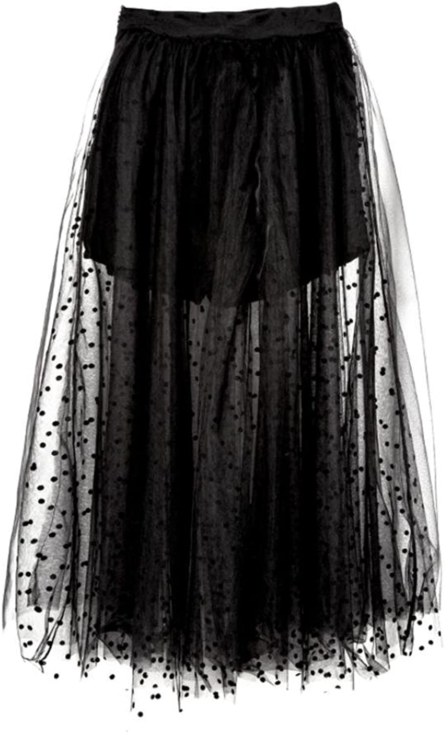 QUNZI Ladies summer new black poncho net yarn dress high waist A word skirt long section skirt