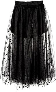 27f105a22 QUNZI Ladies Verano Nuevo Negro Poncho Net Hilado Vestido de Alta Cintura  Una Falda Palabra Falda
