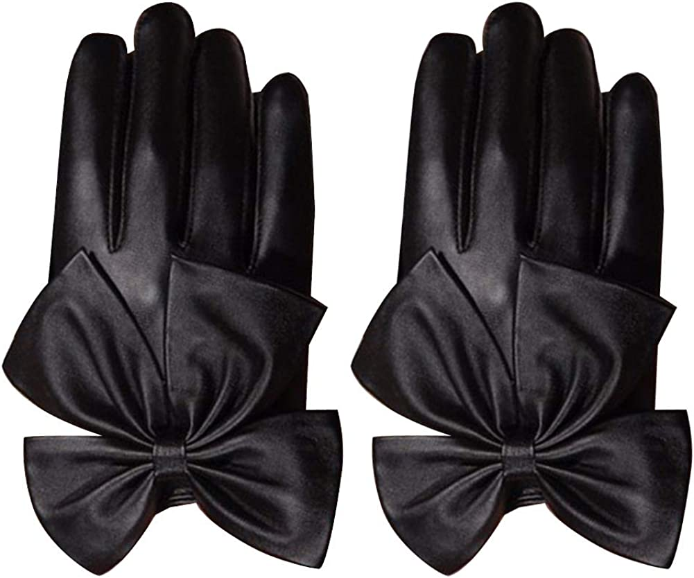 Motorcycle Oversized Bow Ladies Fashion Faux Leather Gloves Rivets Bow Solid Color Gloves Full Finger Mittens