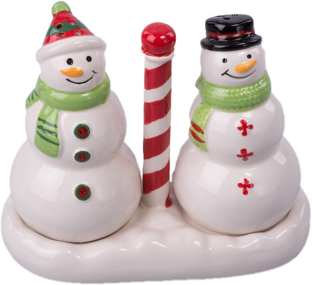 Christmas Ceramic Snowman Salt and Ranking TOP20 Inventory cleanup selling sale Pepper Set with Base Shaker