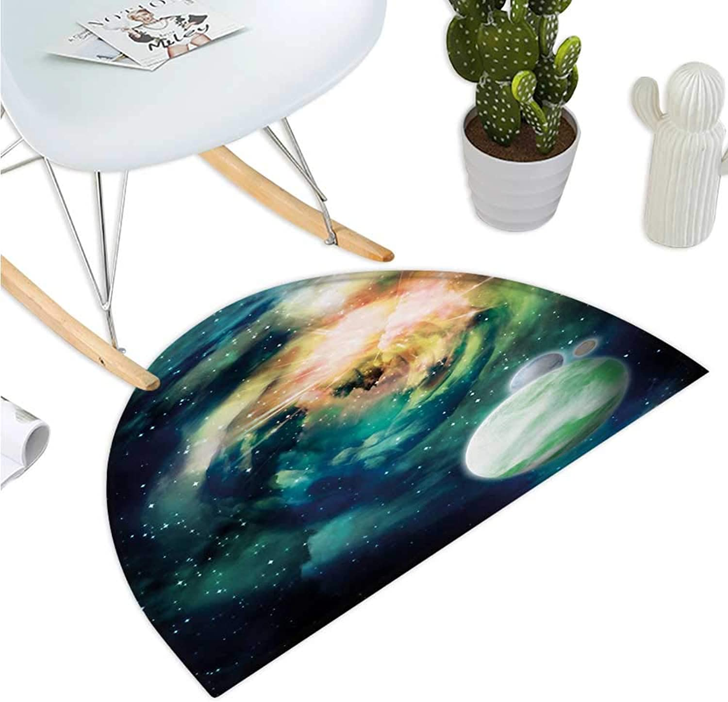 Space Half Round Door mats Spiral Anromeda Galaxy with Planets Mystical Cosmos Fantasy Background Image Entry Door Mat H 47.2  xD 70.8  Teal bluee Yellow