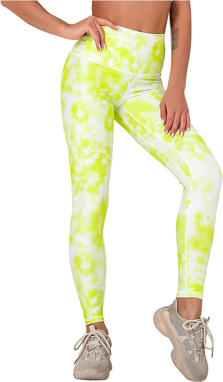 Wocachi High Waist Yoga Pants for Women, Tie Dye Stretch Tummy Control Running Tight Pants Workout Leggings for Women