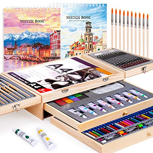 Professional Art Set 85 Piece with Drawing Pads, Deluxe Art Kit in Portable Wooden Case-Painting & Drawing Set,Art Supplies for Teens and Adults/Perfect Gift,Painting Supplies (White)