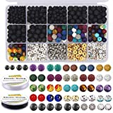 EuTengHao 602Pcs Lava Beads Stone Kits with 8mm Chakra Beads and Spacers Beads Bracelet Elastic String for...