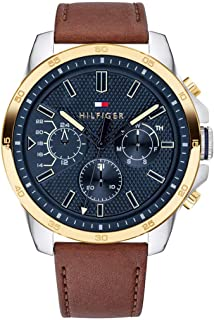 Tommy Hilfiger Mens Quartz Watch, Analog Display and Leather Strap 1791561