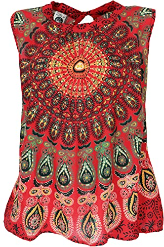 GURU SHOP Blusentop, Mandala Top, Rot, Synthetisch, Size:S/M (38), Blusen & Tunikas Alternative Bekleidung
