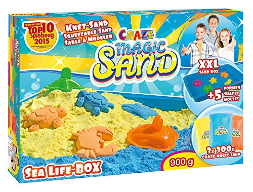 Craze Magic Kinetischer Indoor Spielsand Sea Life Box Bunter Kinetic Sand 900gr 53011, mehrfarbig