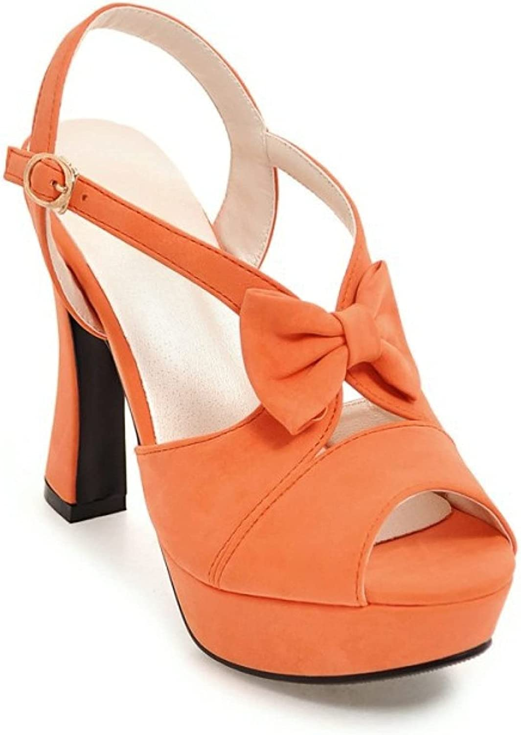 Women's Bowknot Ankle Strap Platform Sandals Fashion Cut Out Chunky High Heel Peep Toe Pumps Solid Colors Heeled Sandal