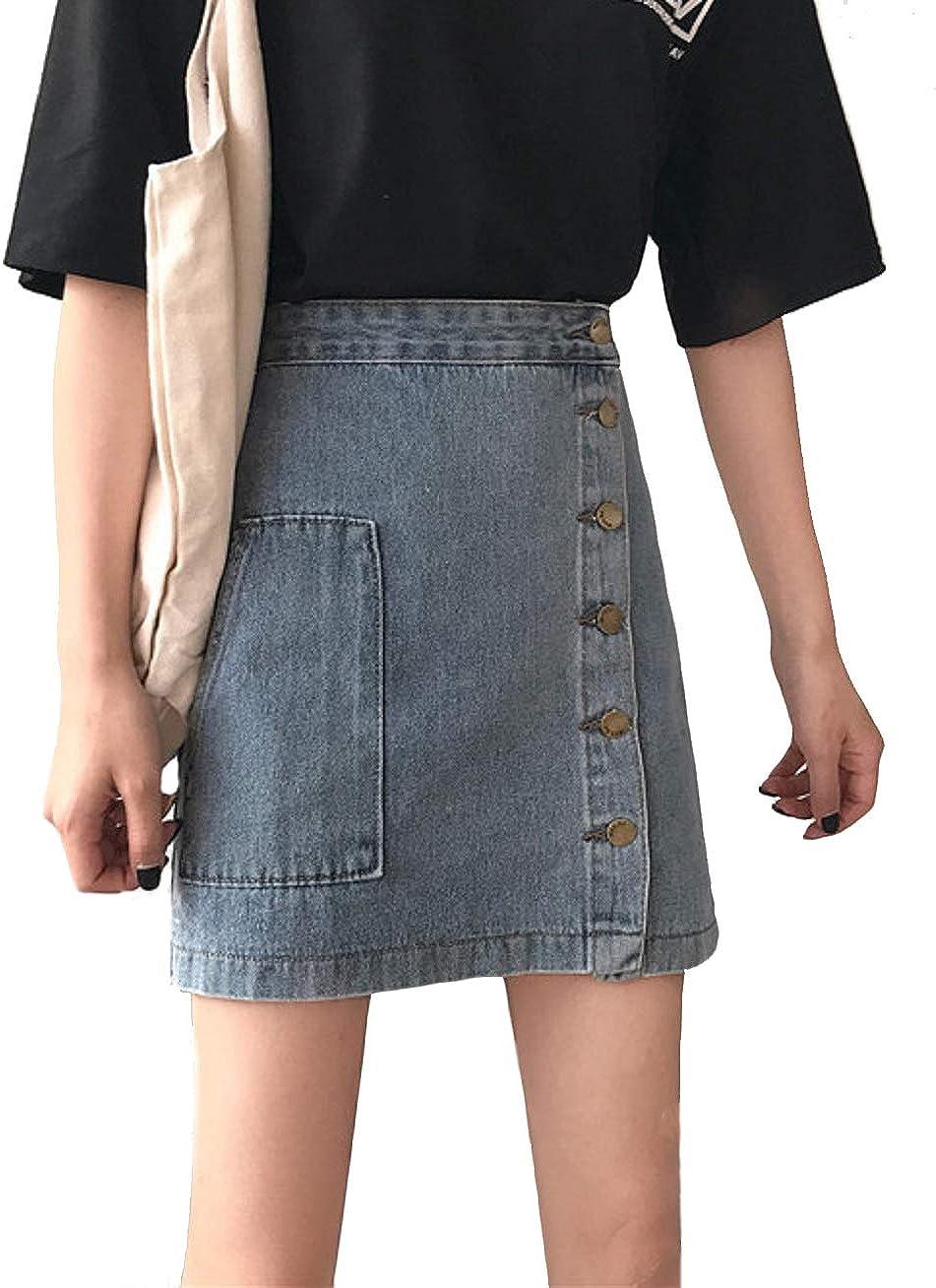 CHARTOU Women's Casual High Waist Side Button Packaged Hip A Line Short Denim Skirt