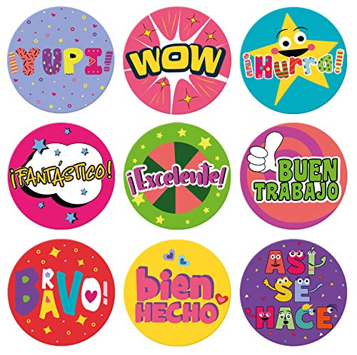 """Sweetzer & Orange Spanish Stickers for Teachers and Parents! Motivational Sticker Sheets with 1000 Pegatinas para Ninos. 9 Designs, 1"""" School Stickers, Reward Stickers and Spanish Classroom Supplies"""