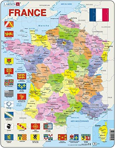 Larsen A5 France, Carte Politique, édition Français, Puzzle Cadre avec de 70 pièces