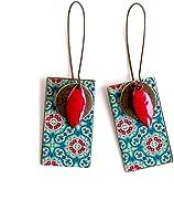 Pendientes colgante, espíritu marroquí, azul y rojo, original, bronce, joyas para mujer