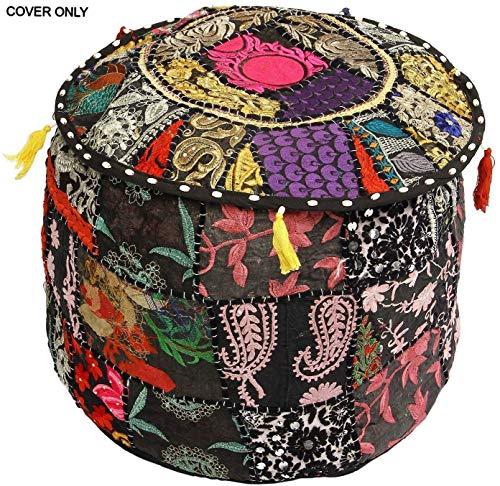 GANESHAM - Puf de estilo indio para salón, decoración, vintage, adornado con patchwork, bordado a mano, hecho a mano, para suelo