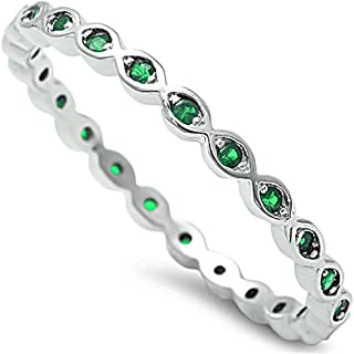 2mm Full Eternity Stackable Band Ring 925 Sterling Silver Choose Color