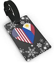 Half Philippines Flag Half USA Flag Love Heart Luggage Tag Travel ID Bag Tag For Men Women Baby Strollers
