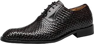 Zapatos de Cordones Oxford Hombre Plain Toes Cuero Trenzado Noche Formal Casual Plano Derby Negro Marrón