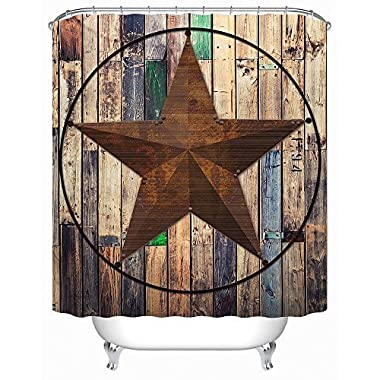 Uphome Rustic Vintage Star on Wooden Bathroom Shower Curtain - Brown Unique Custom Polyester Fabric Bath Decorative Curtain (72 W x 78 H)