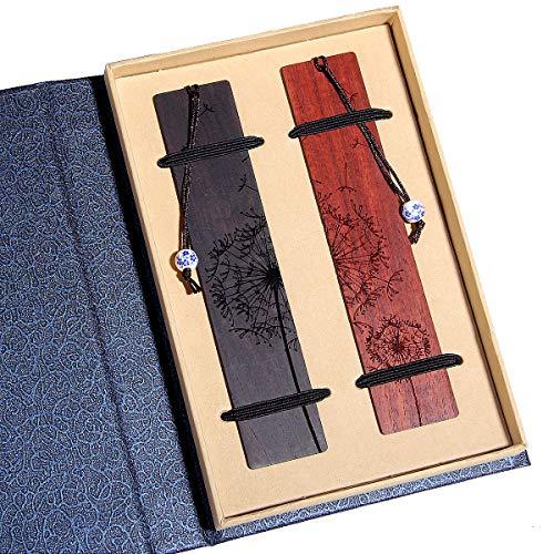 Handgemachte hölzerne Lesezeichen-Geschenkbox-Set, Lesezeichen mit blau-weißem Porzellananhänger, ist ein einzigartiges Geschenk für Lehrer, Schüler, Männer und Frauen.