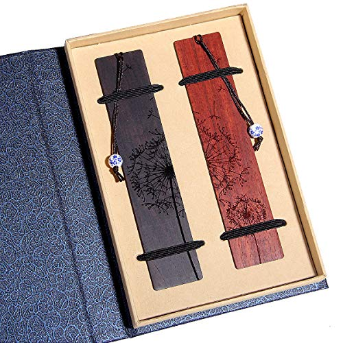 Handmade Wooden Bookmark Gift Box Set, Bookmark With Blue And White Porcelain Pendant, Is A Unique Gift For Teachers, Students, Men And Women.