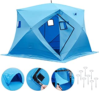 Happybuy Ice Fishing Shelter 2/3/4/8 Person Pop-up Ice Fishing Shelter Waterproof Portable Ice Tent for Outdoor Fishing