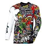O'NEAL | Camisa de Manga Larga de Motocross | MX Enduro Motorcycle | Material de Secado rápido y de Rendimiento Ligero, diseño sin Cuello | Camiseta Mayhem Crank | Adultos | Negro Multi | Talla S