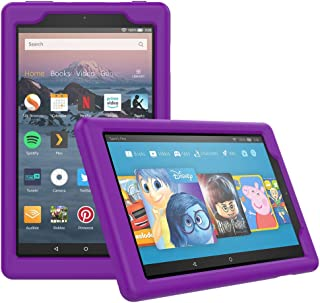 MoKo Case for All-New Amazon Fire HD 8 Tablet (7th/8th Generation, 2017/2018 Release) - [Honey Comb Series] Light Weight Shock Proof Soft Silicone Back Cover [Kids Friendly] for Fire HD 8, Purple