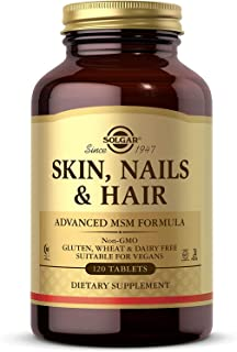 Solgar Skin, Nails & Hair, Advanced MSM Formula, 120 Tablets - Supports Collagen for Hair, Nail and Skin Health - Provides...