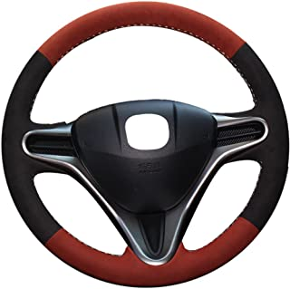 XuJi Hand Sewing Brownness Black Suede Genuine Leather Steering Wheel Cover for Honda Fit