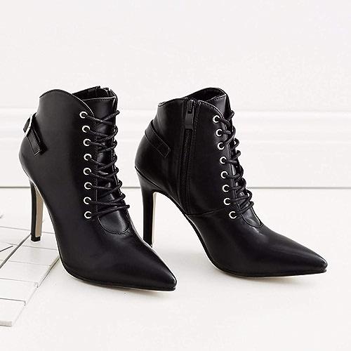 HBDLH Chaussures pour Femmes Plate-Forme D'Imperméables De 10 Cm Cravate La Hauteur du Talon Bottes Beau Ceinture Bottines Pointu Maigre Talon Martin Bottes
