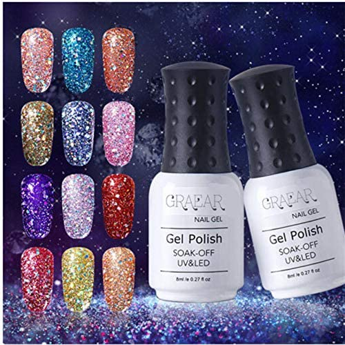 DZT1968 Reflective Glitter UV Nail Polish 8ML Diamond Glitter Bling UV Gel Nail Polish LED Lamp product image