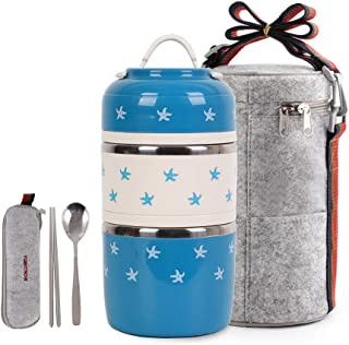 Cute Lunch Box Insulated Lunch Bag Bento Box Food Container Storage Boxes With Spoon For Kids Children Adults Office School Camping (blue starfish)