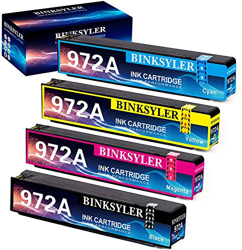 BINKSYLER Compatible 972 972A Ink Cartridges Replacement for HP 972A 972 Work for HP Pagewide Pro 477dw 377dw 577dw 477dn 452dn 452dw 552dw P55250dw P57750dw(1 Black,1 Cyan,1 Magenta,1 Yellow) 4 Pack
