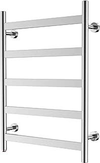 HEATGENE Towel Warmer 5 Flat Bar Towel Dryer Wall-Mounted Plug-in Bath Towel Heater - Brushed