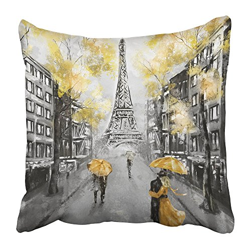 Emvency Throw Pillow Cover Square 16x16 Inches Oil Painting Paris European City Landscape France Eiffel Tower Black White and Yellow Modern Couple Polyester Decor Hidden Zipper Print On Pillowcases