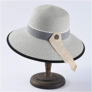 QinMei Zhou Simple and Versatile Dome Sunhat Ladies Elegant Straw Fisherman hat M Standard Wide Sunscreen Sun hat (Color : Grey)