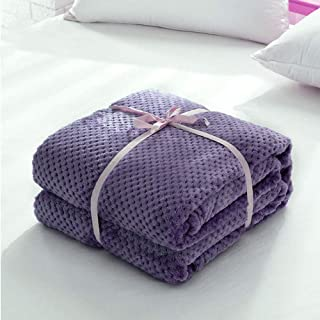 "Haihuic Waffle Weave Flannel Throw Blanket 150x200 cm/ 59""x79"" Purple Soft Warm Breathable Lightweight Solid Fleece Blanke..."