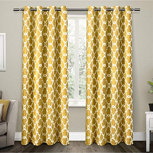 Cortinas amarillas para sala, 52x108cm (2Piezas)