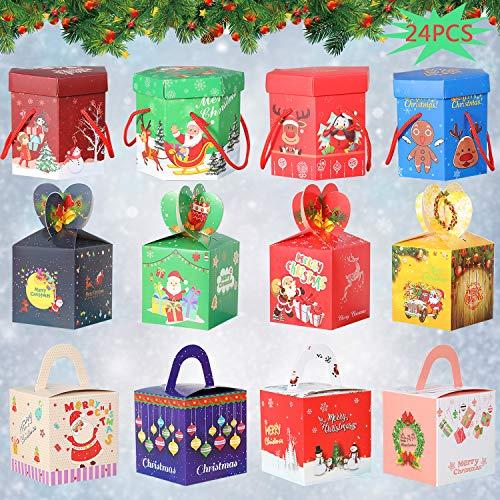 WENTS 24Pcs Scatola per Dolci Natalizi Scatole Regalo Fai-da-Te Simpatico Cartone Animato Regalo Frutta Caramella Dessert Scatola di Biscotti per Matrimonio Festa di Natale Festa 12 Stili