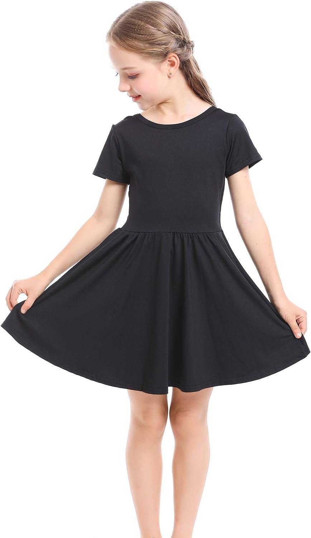 Mergorte Girls Short Sleeve Twirly School Party Princess Casual Dresses