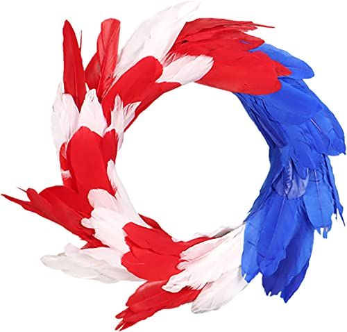 """wholesale Patriotic Wreaths for Front Door Independence online sale Day lowest Feather Wreath Welcome Sign Farmhouse Home Décor American Flag-Themed Feather Patriotic Wreath Gift, 14"""" sale"""